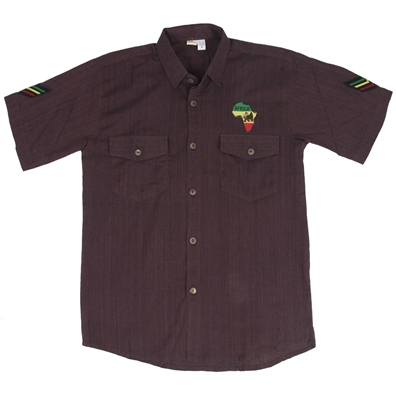 Rasta and Reggae Button Down Brown Shirt