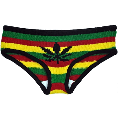 Rasta and Reggae Knitted Pot Leaf Panties