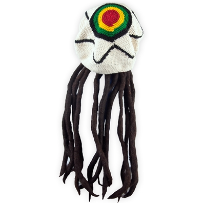 Adult Fake Dreadlock Wig with Rasta Crochet Star Tam