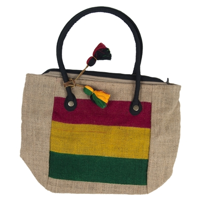 Rasta Color Block Jute Market Bag