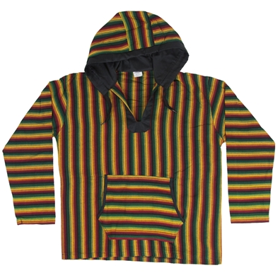 Rasta and Reggae Wide Striped Baja Hoodie