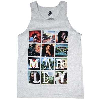 Bob Marley Collage Grey Tank Top