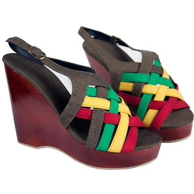 Dub Wise Rasta and Reggae Wedge Slingback Sandals