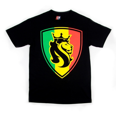 Rasta Lion Shield Black T-Shirt