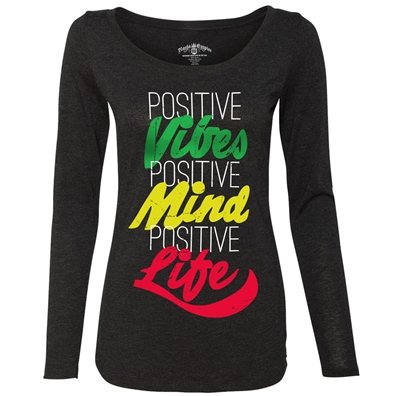 RastaEmpire Positive Life Black Longsleeve Scoop Top - Women's