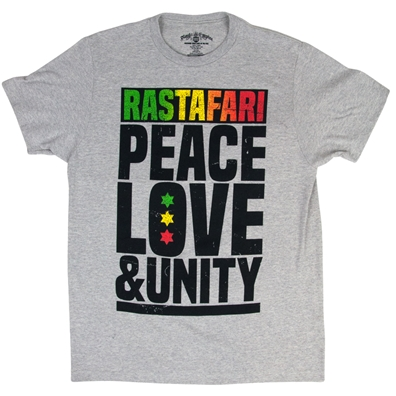 Rastafari Peace Love & Unity Heather Grey T-shirt - Men's