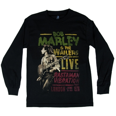 Bob Marley Live in London Black Long Sleeve T-Shirt - Men's