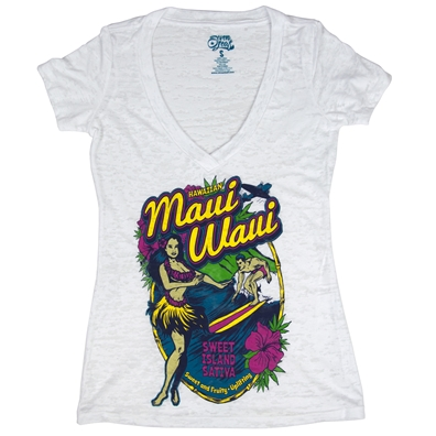 Seven Leaf Maui Waui Burnout Deep V-Neck White Shirt – Women's