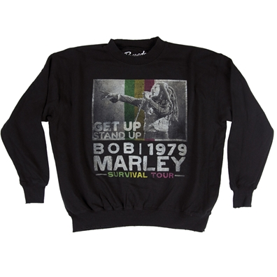 Bob Marley Get Up Stand Up Black Crew Neck Fleece – Men's