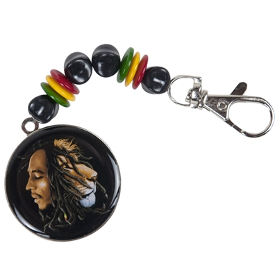 Bob Marley & Lion Profile Beaded Keychain