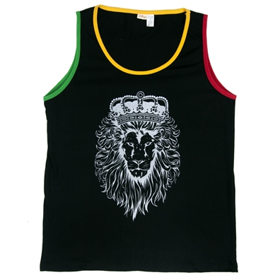 Rasta Lion Crown Black Tank – Men's