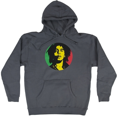 Bob Marley Rasta Circle Charcoal Gray Hoodie – Men's