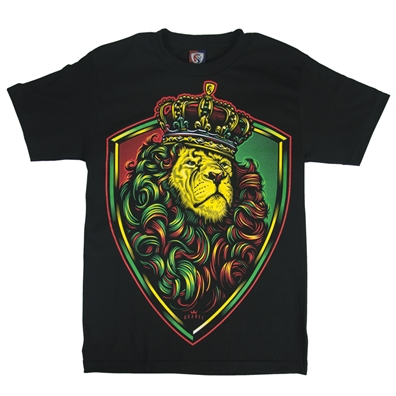 Rasta Crown Shield Lion Black T-Shirt - Men's