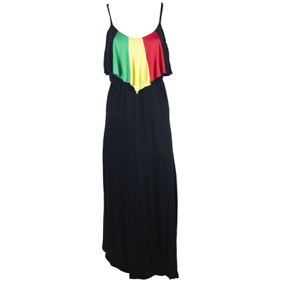 Rasta and Reggae Flounce Top Long Dress