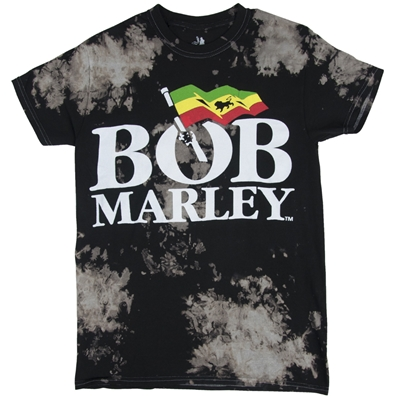 Bob Marley Logo Black & Gray Tie Dye T-Shirt - Men's