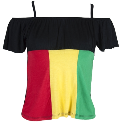 Rasta & Reggae Cold-Shoulder Black Top