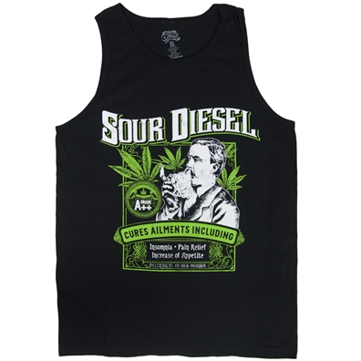 Seven Leaf Sour Diesel Strain Black Tank Top - Men's