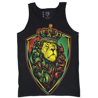 Rasta Crown Shield Lion Black Tank Top - Men's