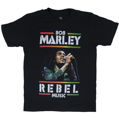 Bob Marley Rebel Music Black T-Shirt – Men's