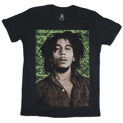 Bob Marley Green Aztec Heather Charcoal T-Shirt – Men's