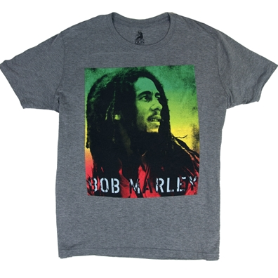 Bob Marley Rasta Gradient Heather Gray T-Shirt – Men's