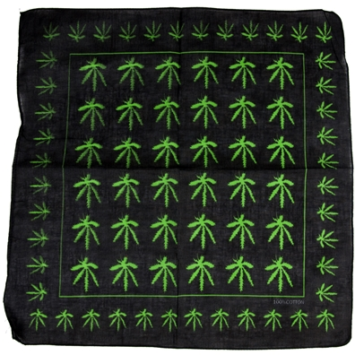 Weed Leaves Allover Black Bandana