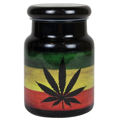 Rasta Weed Leaf 6oz. Stash Jar