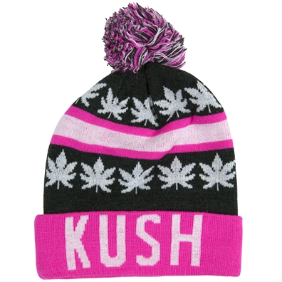 Kush Leaves Pom Pom Pink & Gray Beanie