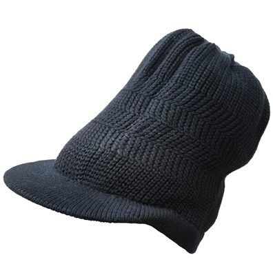 Ribbed Cotton Brim Cap - Black