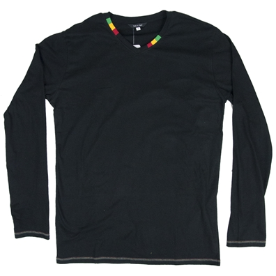Rasta and Reggae Long Sleeve V-Neck - Mens