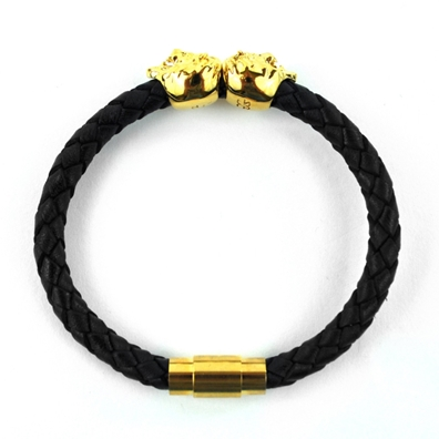 Dual Lion Leather Bracelet