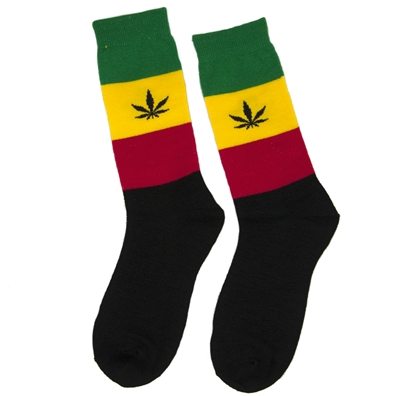 Rebel Soul Rasta Stripe Tall Socks with Hemp Leaf