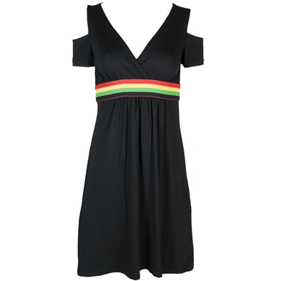 Rasta & Reggae black short dress with rasta banded waist