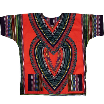 Orange Heart of Africa Dashiki