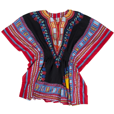 Black/Red Traditional Elastic Dashiki - Women's