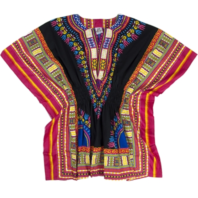 Black/Fuchsia Traditional Elastic Waist Dashiki - Women's