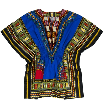 Blue Traditional Elastic Dashiki - Women's