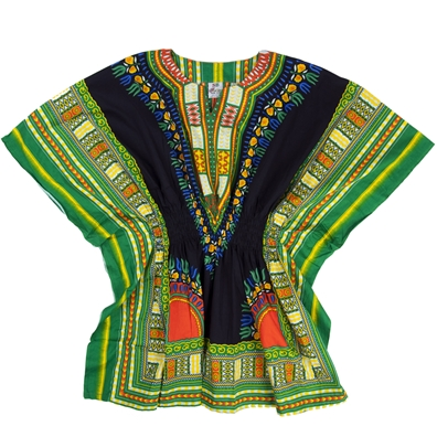 Green Traditional Elastic Dashiki - Women's