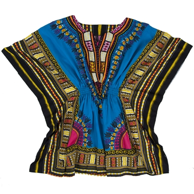 Light Blue Traditional Elastic Dashiki - Women's