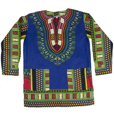 Blue Traditional Long Sleeve Dashiki