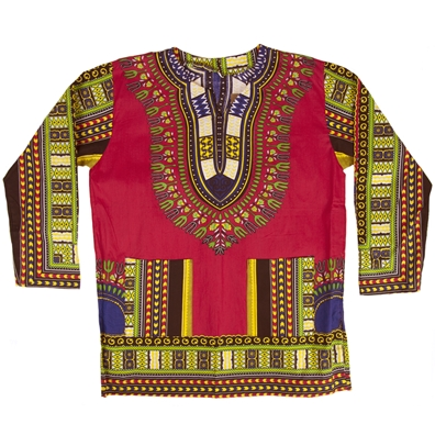 Fuchsia Traditional Long Sleeve Dashiki