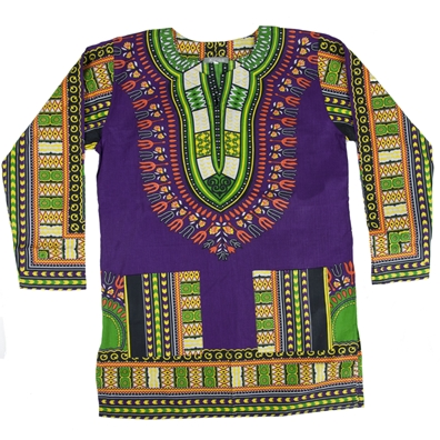 Purple Traditional Long Sleeve Dashiki