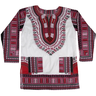 White and Pink Traditional Long Sleeve Dashiki