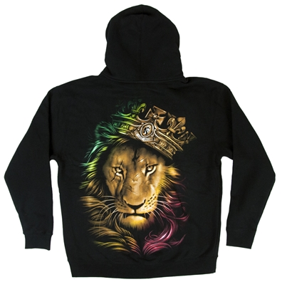 Fierce Rasta Scarred Lion Black Zip Hoodie - Men's
