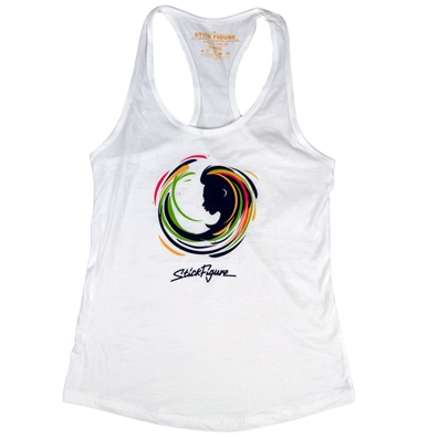 Stick Figure Rasta Swirl White Tank Top - Women's