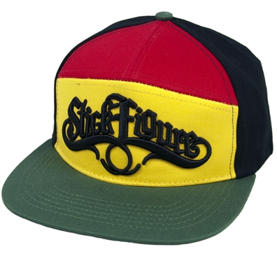 Stick Figure Rasta Logo 7-Panel Snapback Hat