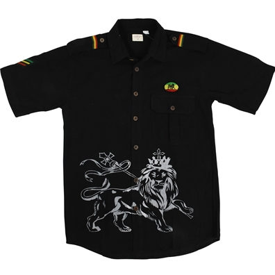 Rasta Lion of Judah Black Button Down Shirt – Men's