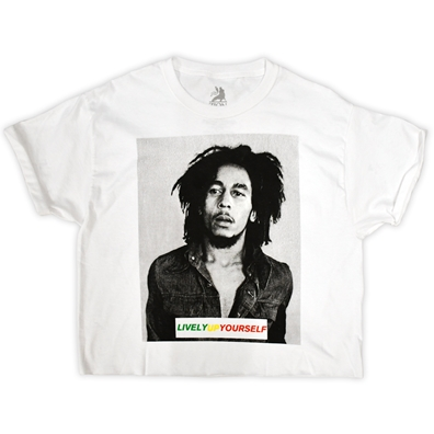 Bob Marley - Lively Up Yourself White Crop Top - Women's