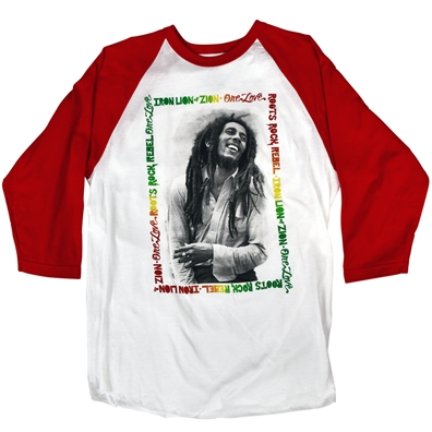 Bob Marley Iron Lion Zion Red Sleeve Henley - Men's