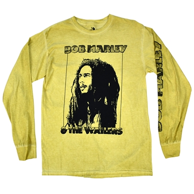 Bob Marley - Bob & The Wailers Long Sleeve Mustard T-shirt - Men's